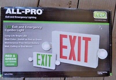 Cooper All-Pro LED Exit & Emergency Combo Light - Red/Green Sign BRAND NEW!