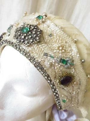 Antique Russian Wedding Headdress & Lace Veil- Profusely Embellished