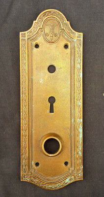 "3x8.5"" Antique Vintage Cast Bronze Door Knob Key Cover Keyhole Plate Escutcheon"