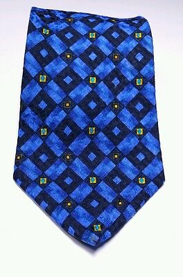 "BOSS Hugo Boss Blue Geometric 57"" Silk Necktie Made in Italy"