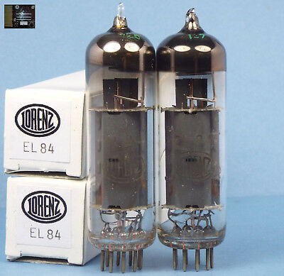 Perfect matched pair EL84 ( 6BQ5 ) tubes from Lorenz Germany in boxes, test NOS