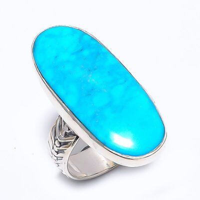 Egyptian Sleeping Beauty Turquoise Vintage Style 925 Sterling Silver Ring 9(503)