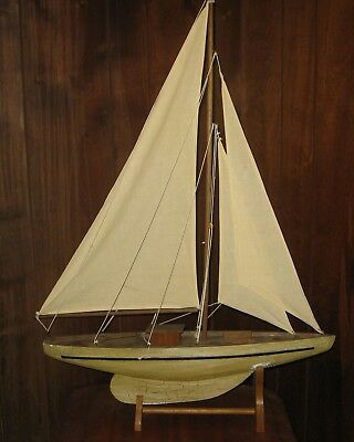 Vintage wooden model, Pond Boat, Sailboat with Stand