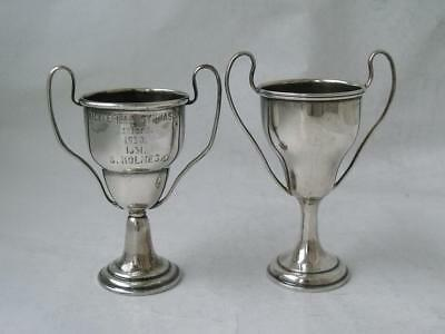 2 Dainty Solid Sterling Silver Trophy Cups: English Hallmarks/ 43 g