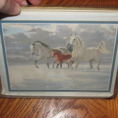 Leanin' Tree Christmas Boxed 12 Cards New D149 Horses walking in Snow - LEANIN TREE CHRISTMAS Cards Boxed 12 Embossed W/ Envelopes Tractors
