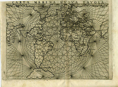 1561 Genuine OLD Antique Mariner map World. Carta Marina Nuova Tavola. Ruscelli