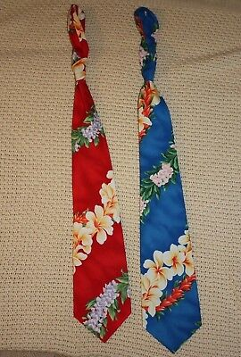Lot of 2 Men's Pacific Legend cotton ties Hawaiian print made in USA