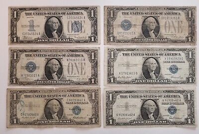 VERY Nice lot of SIX $1 Silver Certificates 1928, 1934, 1935, 1957