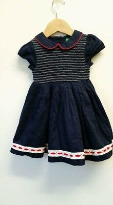 **little Bird New Navy Smocked Baby Girl 9-12 Months Christmas Occassion Dress**