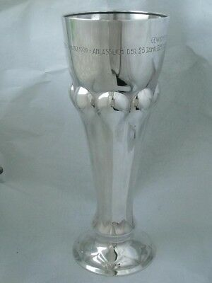 Stylish Tall Antique 800 Standard Solid Silver Vase s.1909/ H 31.6 cm/ 432 g