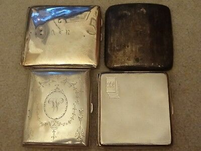 Four 4 X Solid Silver Cigarette Business Card Cases Scrap Or Resale 385.1 Grams