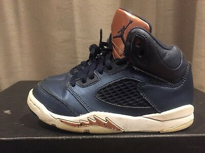 2016 Youth Nike Air Jordan V 5 Obsidian Bronze White Red Size 12C Used NDS Rare