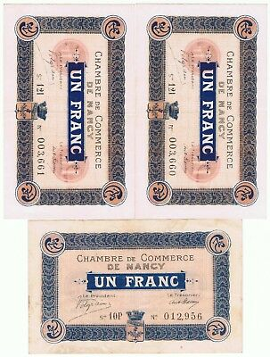 1918 3 France 1 Franc Notes  Chamber of Commerce of Nancy