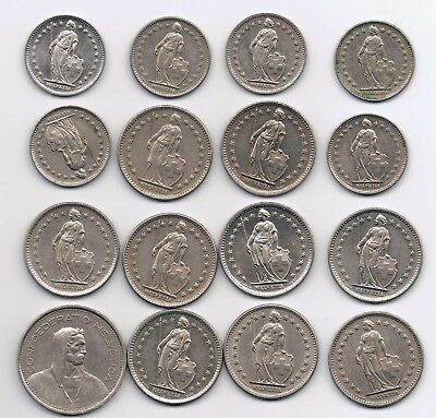 29 Swiss Francs of Various Denominations