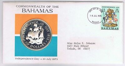 1973 Bahamas Independence Day $10 Dollar  Silver Proof Coin  he