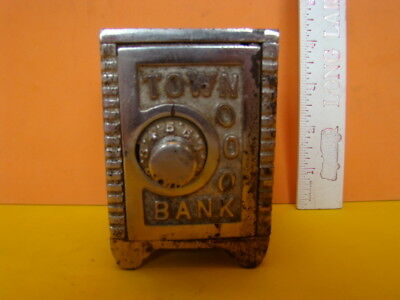Antique Mudd MFG Town Bank Safe Cast Iron Still Bank - Early 1900's - Cool!
