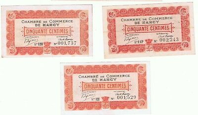 3 - 1918 France Chamber of Commerce of Nancy  50 Centimes Notes