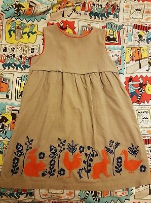 **BODEN GIRLS 2-3 YEARS CORD EMBROIDERED DRESS WINTER** christmas squirrel