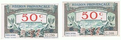 2 - 1922 France 50 Centimes Provenscale Consecutive Notes