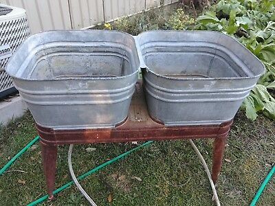 VINTAGE WHEELING Galvanized Metal Double Wash Tub Set On Rolling Stand.