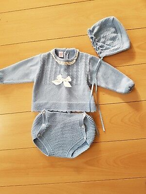 spanish baby knitted set with bonnet cornflower blue boy or girl 18 months
