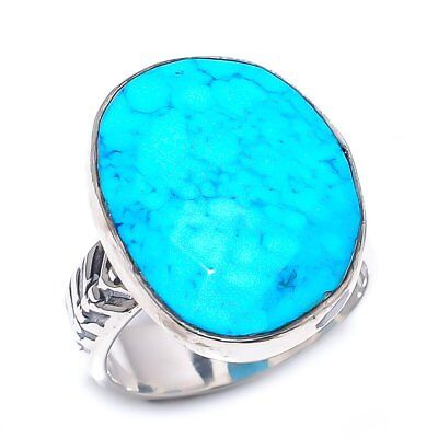 Egyptian Sleeping Beauty Turquoise Vintage Style 925 Sterling Silver Ring 8(438)