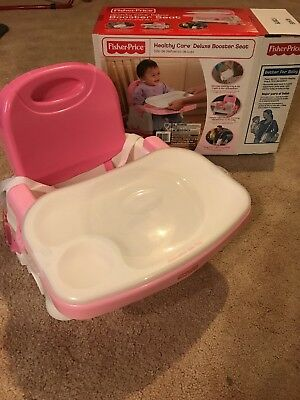 Fisher Price Healthy Care Deluxe Booster Seat Chair; feeding tray w/ snap-on lid