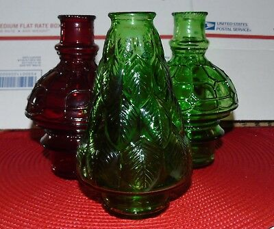 """three""  Wheaton Christmas Decorated Glass Bottle 7"" Mint Condition"
