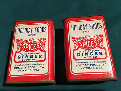 2 VINTAGE HOLIDAY FOODS TINS -1.5 OZ GINGER-RARE MISSPELLING: DTSTRIBUTORS Iowa