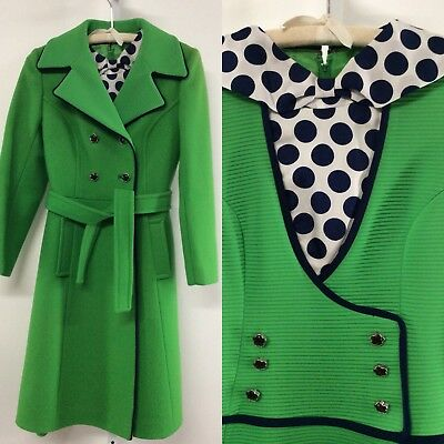 vtg Lilli Ann Coat Dress Set 2 Pc Suit Kelly Green Wool Navy POLKA DOTS 70s S