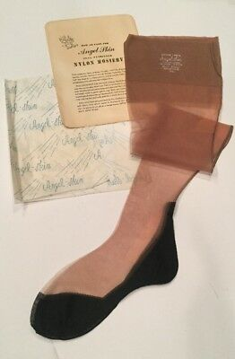 Vintage Angel Skin 9 1/2 Cuban Black Heel Seamed Nylon Nude Stockings Thigh Hi