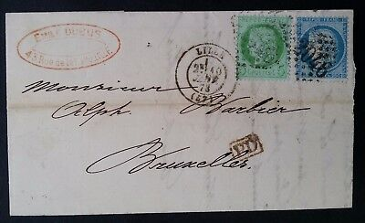 """RARE 1873 France Folded letter ties 2 Ceres stamps canc Lille """"2046"""" to Brussels"""
