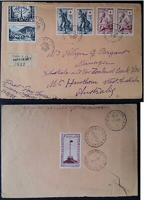 SCARCE 1955 France Registd Red Cross First Day Cover ties 6 stamps & Cinderella