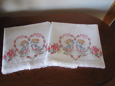 Vintage Pair of Pillowcases Embroidered Crocheted Blue Birds Heart Mr. & Mrs.Wow