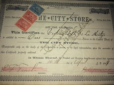 1899 San Jose Stock Certificate the City Store