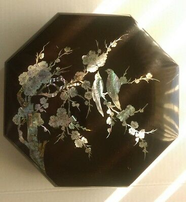 Lacquered Octagon Box Large Asian Abalone Bird and Flower Inlay Design Vintage