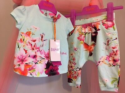 New Baby Girls Designer Ted Baker Floral Humming Bird Print Outfit 3-6m