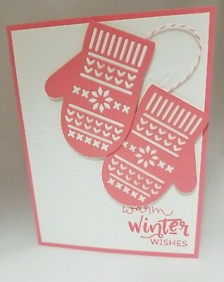 Lot of 6 Warm Winter Wishes Cute Pink Mittens cards made w/Stampin' Up! supplies