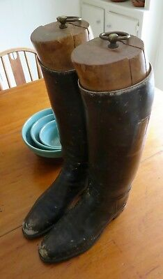 Antique Leather English Marlborough Riding Boots & Maxwell Trees large size