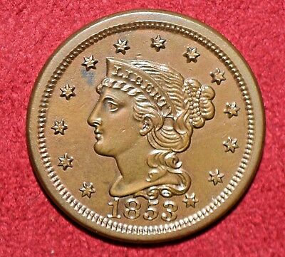1853 Large Braided Hair Cent 1C! >>>SUPER MS+++ BROWN GEM!<<<>>> SEE OUR STORE!