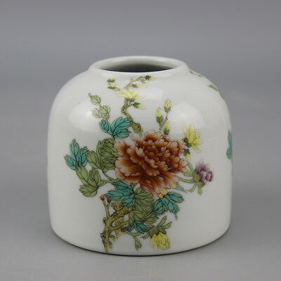 China old porcelain famille rose glaze flower pattern writing-brush washer  H