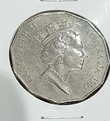 1993 50c 50 Cent Coin Fifty Cent  Low Mintage Very Scarce hard to find