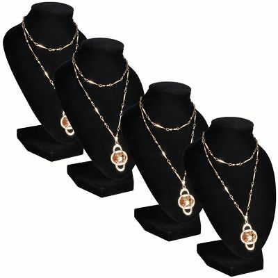 Set of 4 Flannel Jewelry Holder Pendant Necklace Display Stand Rack Show Case