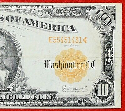 1907 $10 Ten Dollar GOLD CERTIFICATE COIN Note LARGE Size Fr 1172 >> VF++