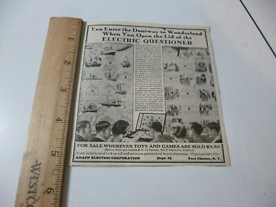 Antique 1927 Knapp Electric Questioner Game Ad