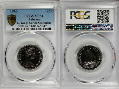 1966 Bahamas 25c PCGS SP64 - Extremely Rare Kings Norton Mint Proof