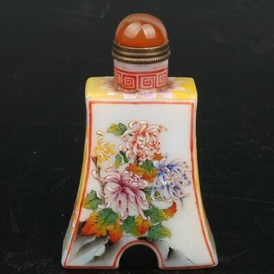 Chinese Exquisite Handmade flowers pattern Glass snuff bottle