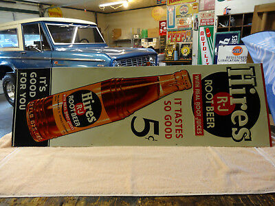 OLD HIRES ROOT BEER SIGN EMBOSSED 1940s