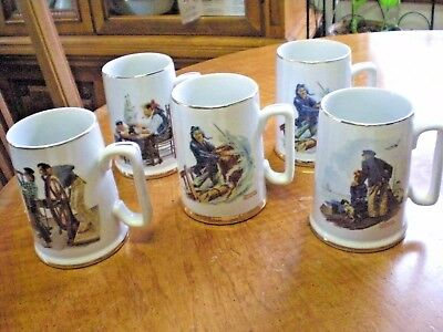 Norman Rockwell Vintage Collectible Mugs, Five (5) White Porcelain, Gold Accents