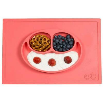 ezpz Happy Mat Toodler Kids Feeding Silicone Placemat Dinnerware - Coral